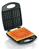 Hamilton Beach 4-Slice Non-Stick Belgian Waffle Maker with Indicator Lights, Compact Design, Black (26020)