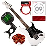 Squier by Fender Contemporary Active Stratocaster Electric Guitar, HH, Olympic White with Tuner, Picks, Strings, Cable & Cloth Basic Bundle