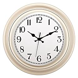 Kinger_Home Silent Non-ticking RoundWall Clocks (14-Inches) Decorative Vintage Style,Home Kitchen/Living Room/ Bedroom (White)