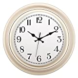Kinger_Home Silent Non-Ticking Round Wall Clocks (14-Inches) Decorative Vintage Style,Home Kitchen/Living Room/Bedroom (White)