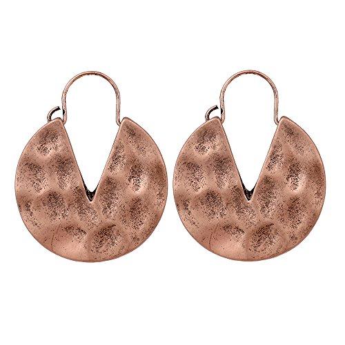 lureme Vintage Personality Hammered Round V Hoop Earrings-Antique Rose Gold (er005220-3)