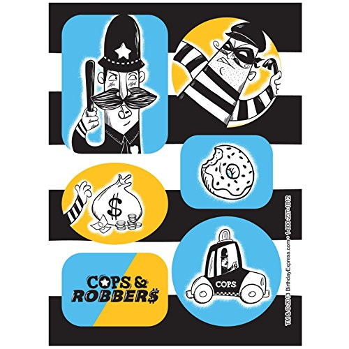 [Police Party Cops and Robbers Party Sticker Sheets (4)] (Police Officer Party Supplies)