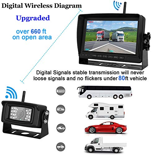 Upgraded-Digital-Wireless-Backup-Camera-Mvonitor-High-Speed-Obseration-System-for-RVTrailerTruckVan-Split-Screen-DVR-7-Monitor-IP69K-Waterproof-Camera-RearFront-View-DrivingReverse-Use