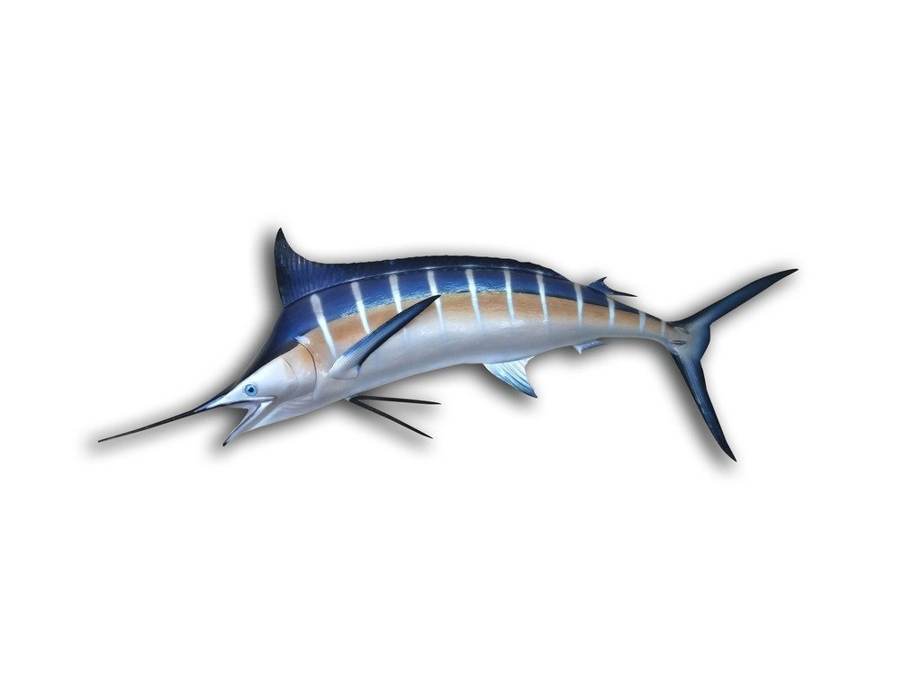 94'' Blue Marlin Half Sided Fish Mount Replica, Affordable Coastal Decor - Indoors Or Outside