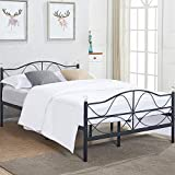 VECELO Premium Queen Size Bed Frame Metal Platform Mattress Foundation/Box Spring Replacement Headboard, Deluxe Crystal Ball Stylish