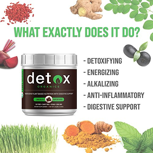Chocolate Greens SUPERFOOD Powder - Amazing Taste - Organic Super Food Green Daily Vegetable Juice Smoothie Drink Supplement with Wheatgrass and 25+ Superfoods by Detox Organics by Detox Organics (Image #5)
