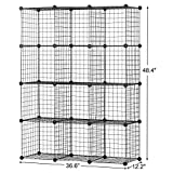 BASTUO 12 Cubes Wire Grid Storage Cabinet DIY Metal Bookcase Shelves Modular Cubes Organizer,Closet for Toys,Books,Clothes,Black