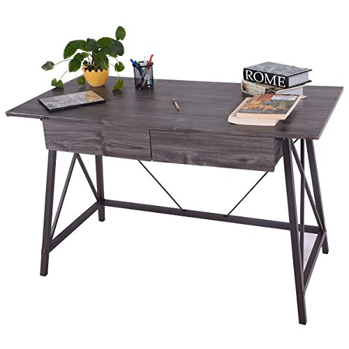 Wood Writing Desk Computer Table with Drawers Home Office Furniture Workstation by MTN Gearsmith