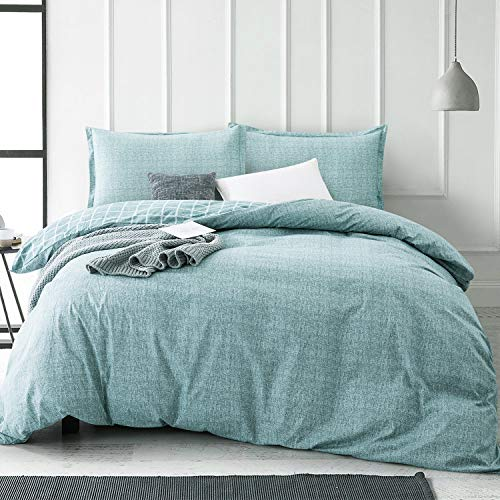 Villa Feel King Duvet Cover Egyptian Cotton Bedding King Duvet Cover Set, 3 Piece, Ultra Soft and Easy Care, Simple Vintage Style, Percale Weave High Thread Count Farmhouse Bedding(King,Teal)