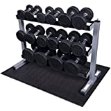 Body-Solid Round Rubber Dumbbell 5-40 lb. Pairs Package with Rack
