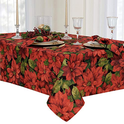 - Christmas Poinsettia Celebration Fabric Tablecloth, 60 x 102 inch Oblong