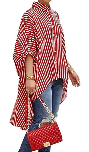 (JOKHOO Womens Striped Print Batwing Half Sleeve Dip Hem Loose Blouse Long Tops (Red, 2XL))