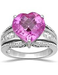 Sterling Silver 12mm Checkerboard cut Created Pink Sapphire Heart Ring, Size 7