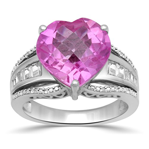 lver 12mm Checkerboard cut Created Pink Sapphire Heart Ring, Size 7 (Gemstone Pink Sapphire Ring)