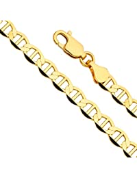 14k Yellow Gold Solid Men's 7.5mm Flat Mariner Chain Necklace with Lobster Claw Clasp