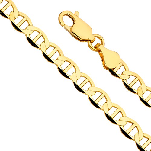 14k Yellow Gold Solid Men's 6.5mm Flat Mariner Chain Bracelet with Lobster Claw Clasp - 8