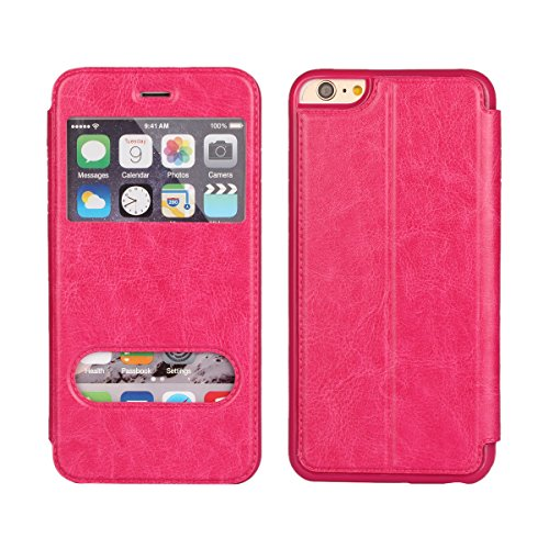 iPhone 6S ケース  iPhone 6 ケース 4.7インチ 手帳型 窓付き 【iCoverCase】PUレザー スタンド機能 マグネット式 横開き ビジネス【選べる4色】ローズピンク