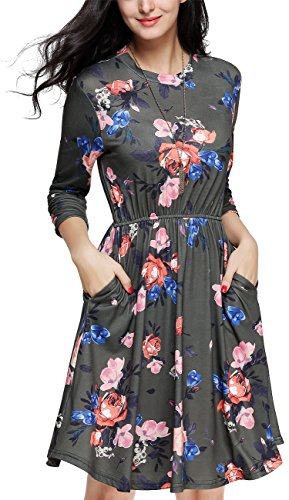 Girl2Queen Women's Long Sleeve Floral Dress Loose Fit Tunic Dress