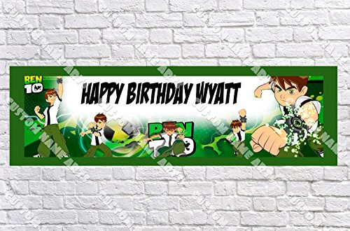 Personalized Ben Ten Banner - Includes Color Border Mat, With Your Name On It, Party Door Poster, Room Art Decoration - Customize ()