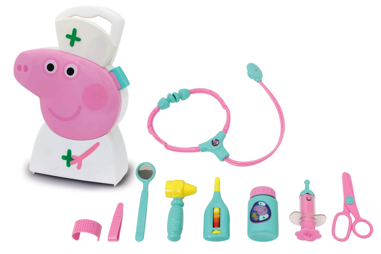 JAMARA 410095 Doctor's Suitcase Set 10 Pieces Sturdy and Handy Carry Case Suitable for Child's Doctors and Role Play Play Toys Cute Peppa Pig Design White by JAMARA