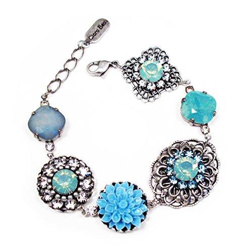(Clara Beau Antique Swarovski Crystal Bracelet in PacificOpal with Turq Flower B82)