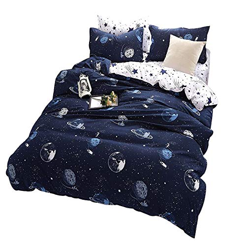 ZHH Outer Space Celestial Galaxy Duvet Cover Set, Comforter Set Luxury Soft Bedding, Space Theme Kids Quilt Cover (Blue, 1 Quilt Coverlet & 2 Pillowcases, Queen Size) (Space Twin Comforter)