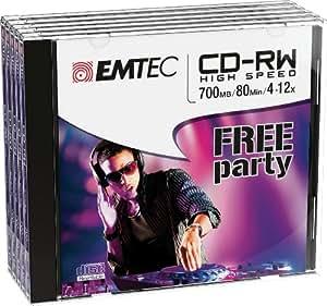 Emtec ECOCRW80512JC CD-RW 700MB 5pieza(s) CD en blanco - CD-RW vírgenes (CD-RW, 700 MB, 5 pieza(s), 120 mm, 80 min, 12x)