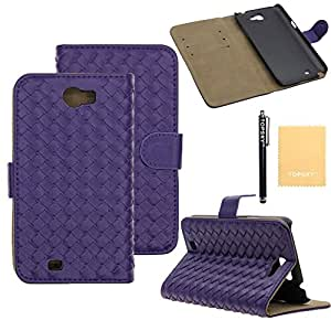 Topsky(TM) Luxury Fashion Handmade Wallet Flip Leather Stand Case Cover for Samsung Galaxy Note 2 N7100+Screen Protector,Free Stylus,Cleaning Cloth BZWPT Purple