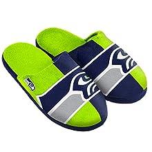 NFL Seattle Seahawks Split Color Slide Slipper, Medium, Green