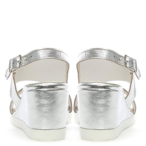 Silver Leather Back Sling Silver Wedge Leather Rizzoli Lovell Sandals Jewelled aOnqf