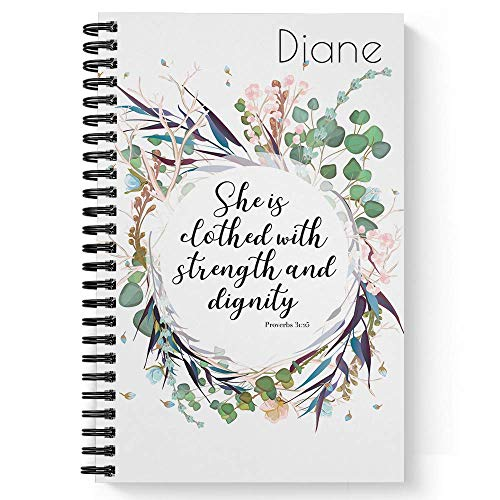 "Clothed With Strength Personalized Notebook/Journal, Laminated Soft Cover, 120 College Ruled or Checklist pages, lay flat wire-o spiral. Pick your size, 8.5"" x 11"", 5.5"" x 8.5"". Made in the USA"