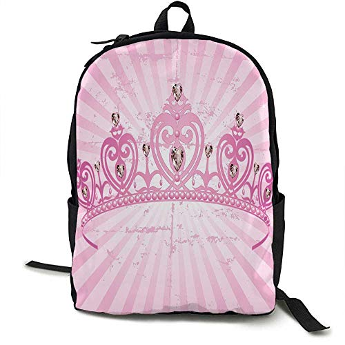 Queen Light travel backpack Childhood Theme Pink Heart Shaped Princess Crown on Radial Backdrop Girls Room Multi-functional daily carrying 16.5 x 12.5 x 5.5 Inch Pink Light Pink