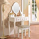 corner makeup vanity set Mefeir Princess Dressing Table Stool with Mirror, Gloss Bedroom Vanity Wooden Set, Girl Small Makeup Seat Saving Room Compact (5 Drawers Set, White)