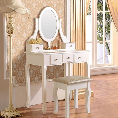 mefeir Princess Dressing Table Stool with Mirror, Gloss Bedroom Vanity Wooden Set, Girl Small Makeup Seat Saving Room Compact (5 Drawers Set, White) ()