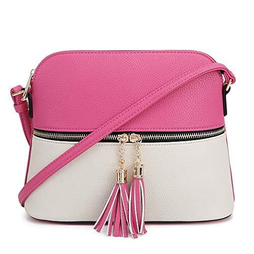 SG SUGU Lightweight Medium Dome Crossbody Bag with Tassel | Zipper Pocket | Adjustable Strap (Fuchsia/Ivory)