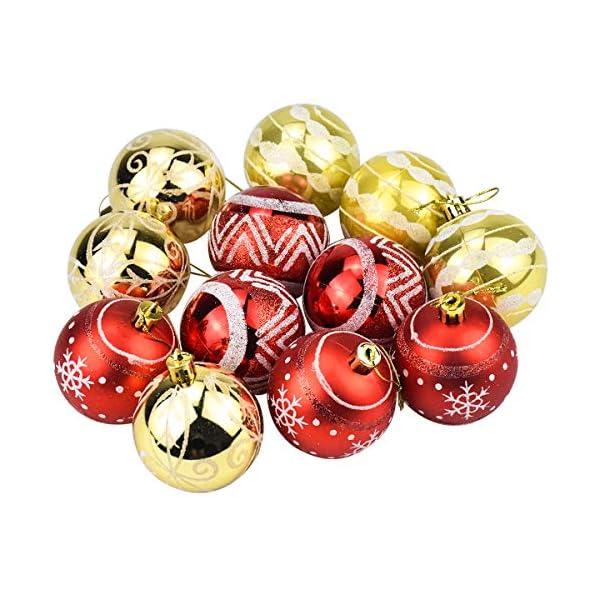 Jinlaili 6CM Palle di Natale Ornamenti, 12PCS Pallina Verniciata Palline di Natale Decorazione per Albero di Natale, Albero di Natale Palla Decorazioni per Alberi di Natale Addobbi Palle (Oro Rosso) 3 spesavip