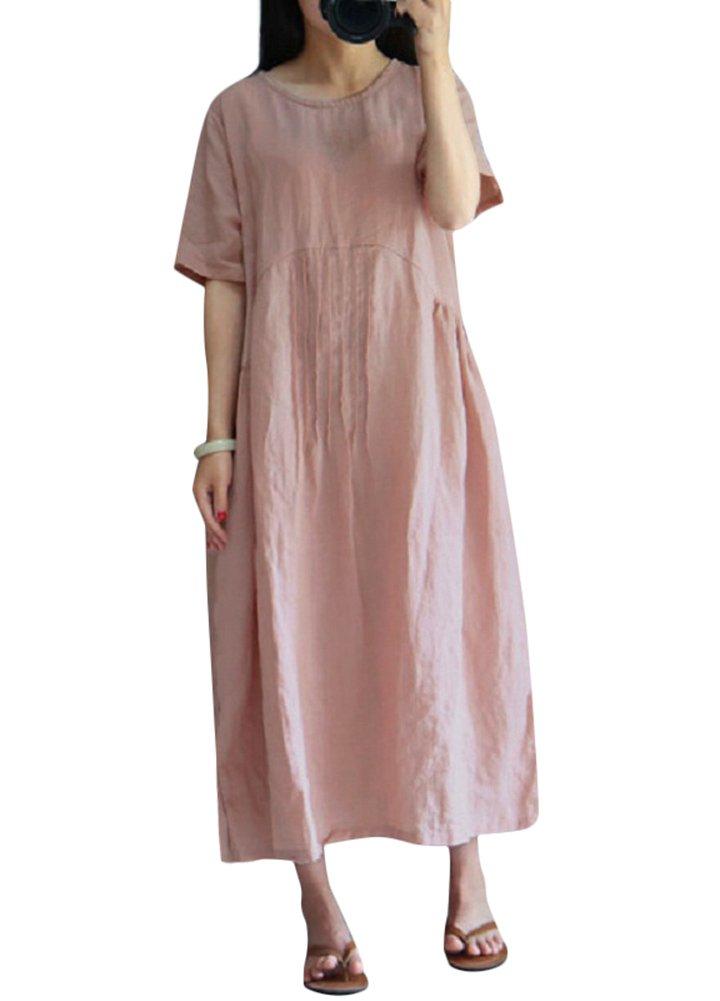 Romacci Women Casual Loose Cotton Long Maxi Dress Vintage O Neck Short Sleeve Plus Size Dress