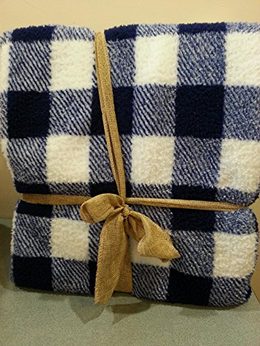 - Blue Plaid Checked Sherpa Blanket Queen/Full size 90