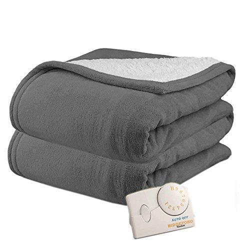Biddeford 2061-9032138-902 MicroPlush Sherpa Electric Heated Blanket Full Grey
