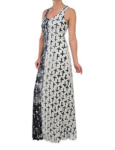 T-Party Sleeveless Multi Crosses Print Maxi Dress, Large, (Cebra One Light)