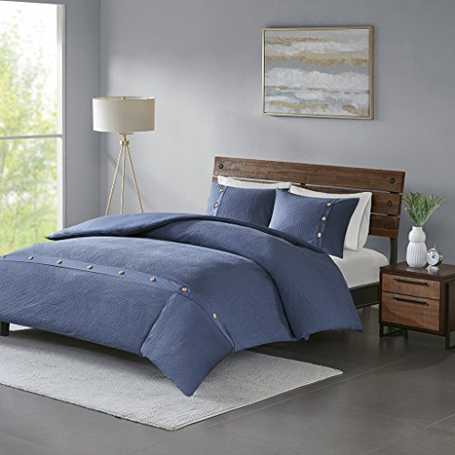 Madison Park Finley Duvet Cover Reversible Solid 100% Cotton Honeycomb Waffle Weave Stripes Corner Ties Sensory Texture Wood Button Accent Soft All Season Bedding-Sets, King/Cal King, Navy ()