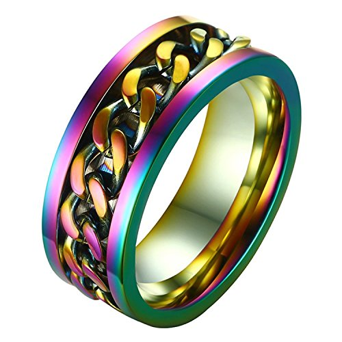 (ALEXTINA Men's Women's 8MM Rainbow Stainless Steel Chain Spinner Ring Wedding Band Size 8)
