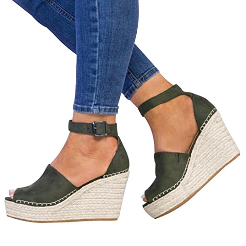 vermers Clearance Women Platform Shoes - Fashion Dull Polish Sewing Peep Toe Wedges Hasp Sandals(US:7, Green) by vermers
