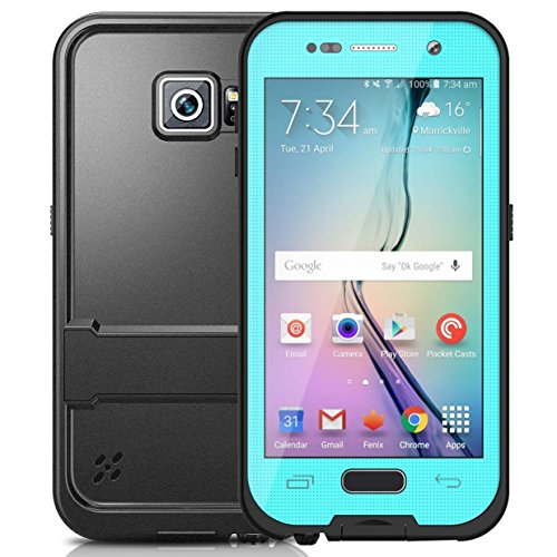 Galaxy S6 Waterproof case, Tomplus Full-body Underwater Waterproof Shockproof Dirtproof Durable Full Sealed Protection Case Cover for Samsung Galaxy S6 (T-Aqua (Aqua Contact Lenses)