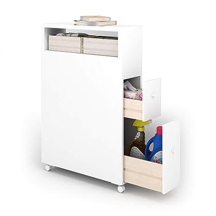 Amazon Com Tangkula Bathroom Storage Cabinet Wooden Rolling