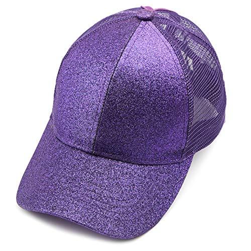 C.C Hatsandscarf Ponytail caps Messy Buns Trucker Plain Baseball Cap (BT-6) (Glitter-Purple)