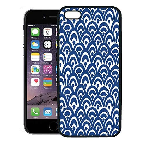 Semtomn Phone Case for iPhone 8 Plus case Cover,Watercolor Pattern Sea Waves Batik Indigo Shibori Japanese of Indonesian Organic,Rubber Border Protective Case,Black ()