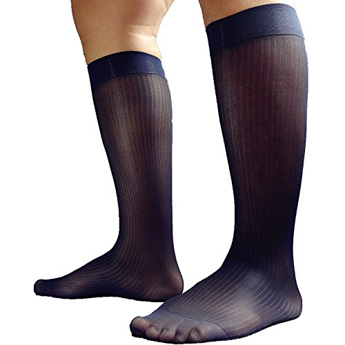Mr.Babuu 3Pairs Pack Men's Casual Striped Sheer Nylon Silky Thin Dress Socks (Navy) (Sheer Socks Men)