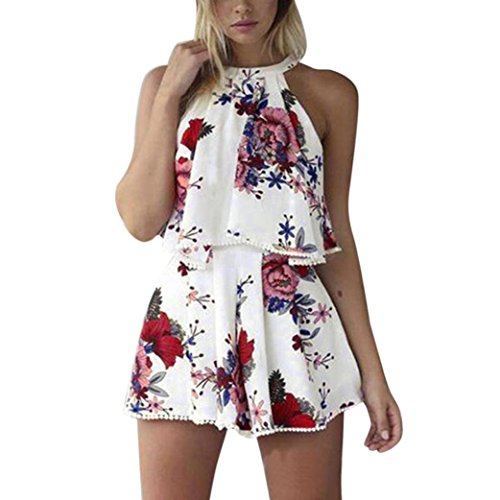 (TOOPOOT Summer Two-Piece Outfit,Womens Tassels Playsuit Jumpsuit Floral Beach Top Shorts Set (L, White))