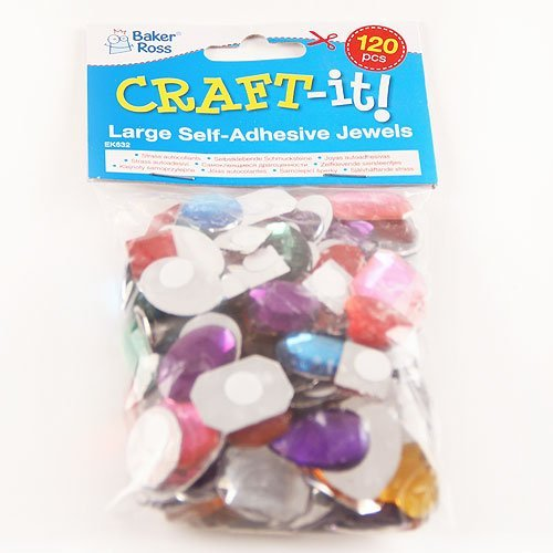Childrens Arts /& Crafts Pack of 126 Card Making Baker Ross Large Self-Adhesive Acrylic Jewels Assorted Designs and Sizes for Collage